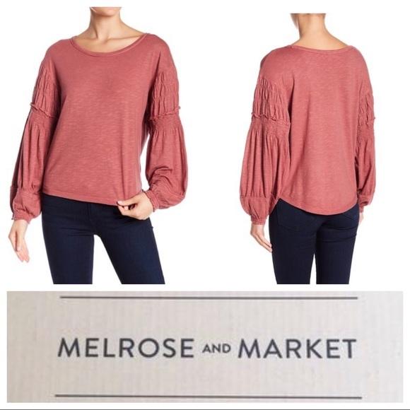 ec18439234bd74 NWT Nordstm Melrose Market Smocked Bishop Sleeve T